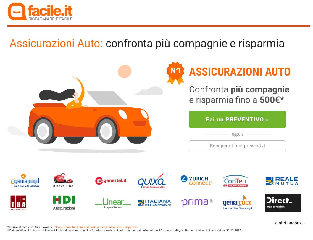 Landing Page Efficace Esempio: Facile.it