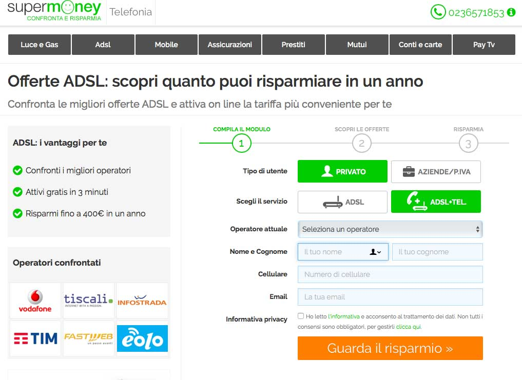Landing Page Efficace Esempio: SuperMoney