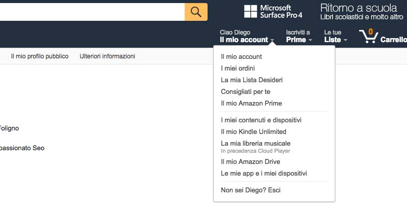 Link dofollow da Amazon: il mio account