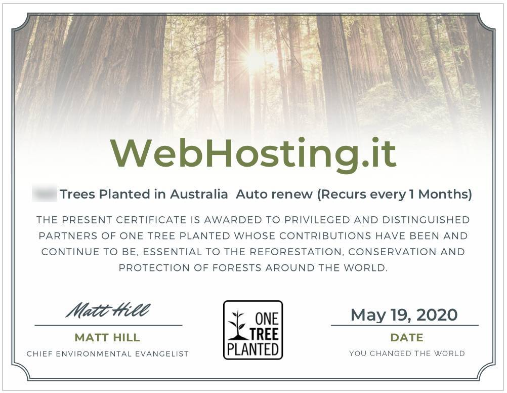 WebHosting.it e One Tree Planted MAGGIO 2020