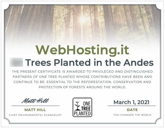 WebHosting.it e One Tree Planted MARZO 2021