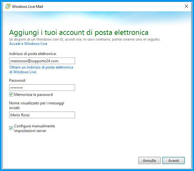 Windows Live Mail 2012: compila i campi appositi